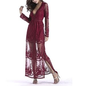 Dresses & Skirts - Deep V Neck Lace Romper Dress